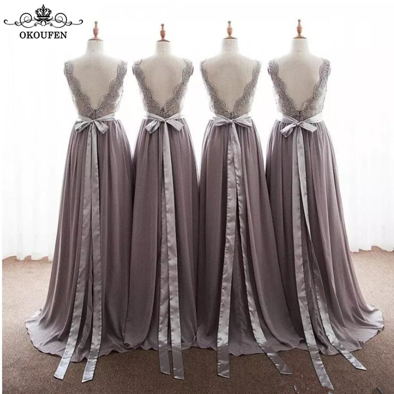 Flowing A Line   Bridesmaid     Dresses   With Ribbon Sash Lace Applique and Chiffon Skirt V Neck Long Maid Of Honor   Dress   Party Wedding