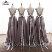 Flowing Grey Chiffon A Line Bridesmaid Dresses With Ribbon Sash 2018 Lace Appliques Backless V Neck Long Maid Of Honor Dress