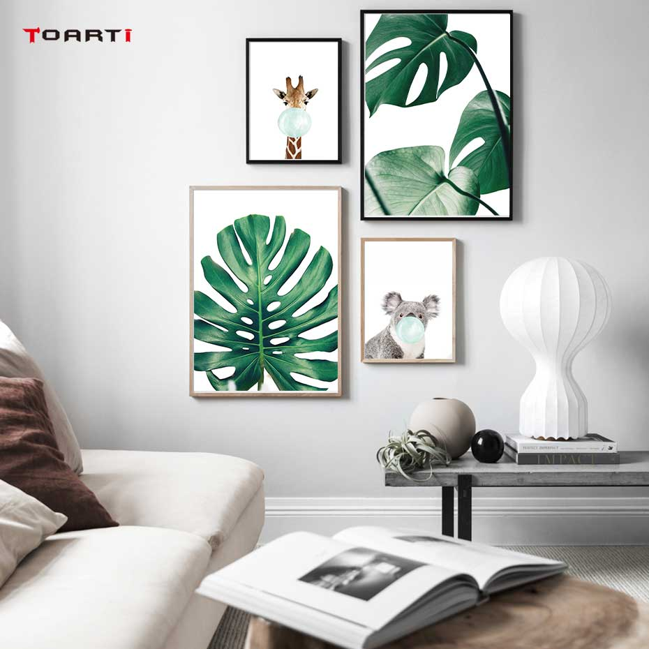 Cartoon Balloon Animals Posters Prints Modern Green Leaf Canvas Painting On The Wall Giraffe Koala Nordic Art Pictures Home Deco
