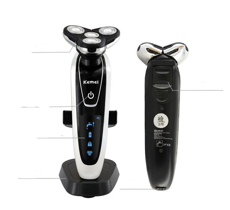 Tondeuse à barbe électrique lavable hommes rasoir coupe-cheveux tête coupe de cheveux homme moustache 3D flottant tondeuse à cheveux du visage
