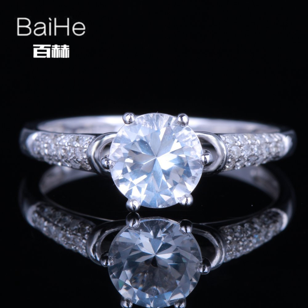 BAIHE Sterling Silver 925 1.16CT Certified Round cut Flawless 100% Genuine White Topaz Wedding Women Trendy Fine Jewelry Ring цена