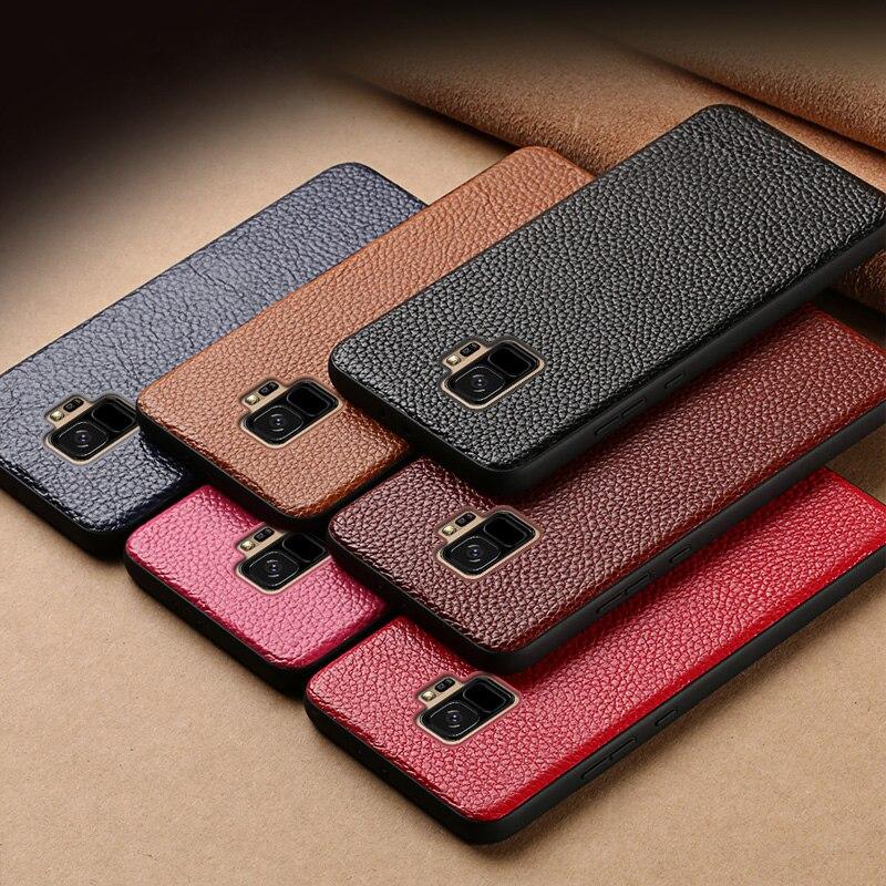 Véritable cas de Téléphone en cuir Pour Samsung S7 S8 S9 Plus Note 8 9 cas Litchi Texture couverture arrière Pour A3 a5 A7 A8 J5 J7 2017 cas