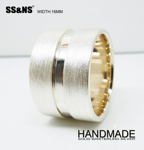 Mens 16mm Solid 925 Sterling Silver Wide Band Ring