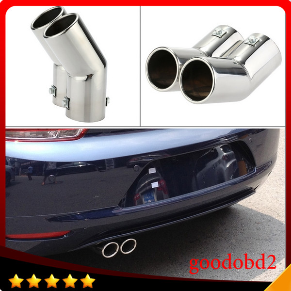 Car Professional Dual Pipes Stainless Steel <font><b>Exhaust</b></font> Tail Pipes Muffler Tips for <font><b>VW</b></font> <font><b>Golf</b></font> <font><b>4</b></font> Bora Jetta Car Tail Pipes Replacement image