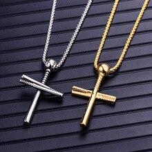 Mens Stainless Steel Cross Necklace  Fashion Baseball Pendant Titanium Plating Jewelry jesus birth