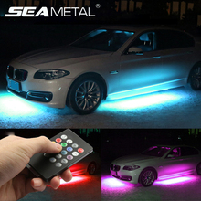 12V Under Car LED Lights Underglow Flexible Strip Lights RGB Decorative Atmosphere Under Lamp Car Chassis Underbody System Light