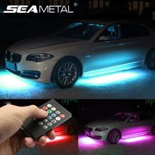 12V под автомобиль светодиодный светильник с Underglow гибкие светодиодные ленты светильник s RGB Декоративные Атмосфера лампы под шасси автомобиля днища Системы светильник