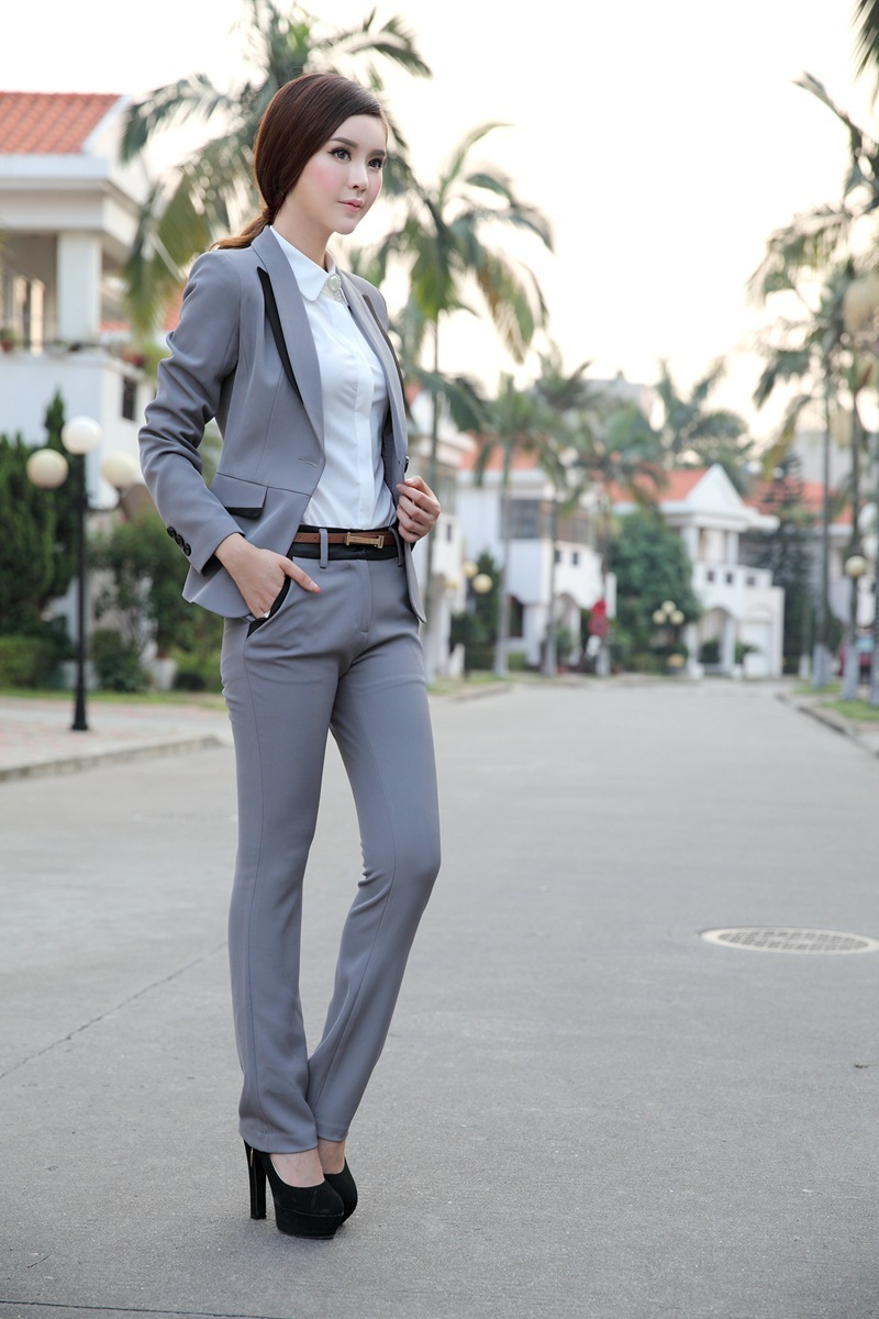 Pants Skirt Suits For Women Professional Female Grey Black Business Formal Career Suit Long Sleeve Blazer Office Work In Pant From S