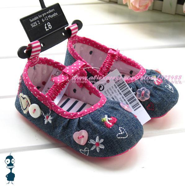 Cute baby girls embroidered denim princess shoes beautiful first walkers infant booties prewalker high quality brand shoes 5106