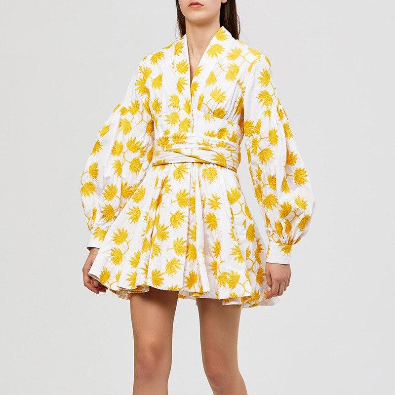 Mode 2019 été feuille imprimer femmes robe col en V lanterne manches taille haute arc à lacets Mini robes femme