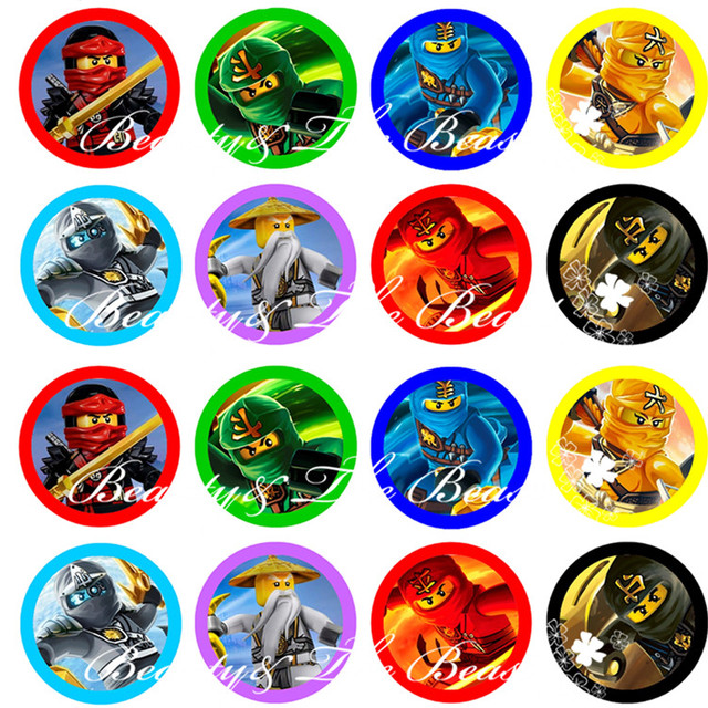 Ninjago Stickers Cupcake Toppers Birthday Party Decorations Kids Sticker Label For Baby Shower Supplies In DIY From
