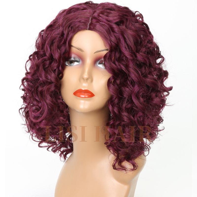 Lisi Hair Short Synthetic Curly Wigs For Women Color Hair Red Purple Wigs Heat Resistant Fiber Solid Color Mid Part 270g