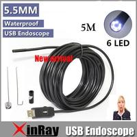 Free Shipping Dia 7mm 5m USB Endoscope Inspection Camera 6LED IP66 Waterproof Mini PC Camera Side