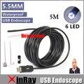 Ic5m xinfly 5 m usb inspeção endoscópio câmera 0.3mp 5.5mm dia 6led & 3 accessaries à prova d' água câmera de inspeção endoscópio