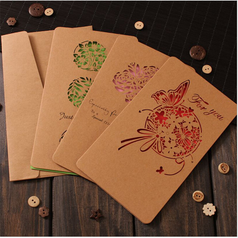 3 pcs Hollow Valentine's Day Greeting Card / Kraft Paper Card Holiday Cards Birthday Cards Blessing 1 set of hollow valentine s day greeting card kraft paper card holiday cards birthday cards blessing