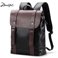 Deelfel Soft Leather Backpack Men Business Rucksack Fashion Bag Student Schoolbags Men Travel Bags for Teenagers Backpacks