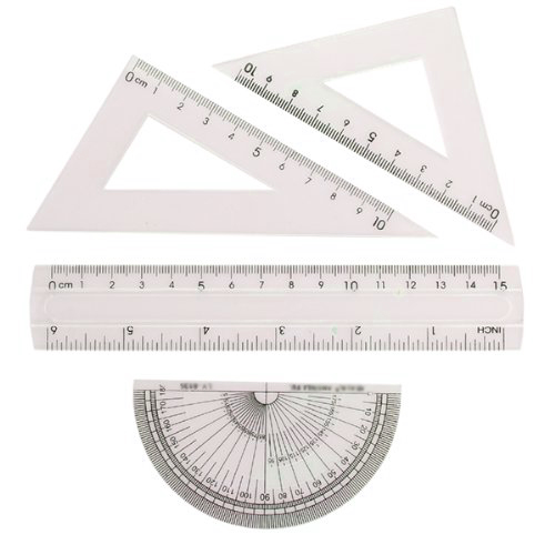 BLEL Hot Students Maths Geometry Stationery Ruler Set Squares Protractor