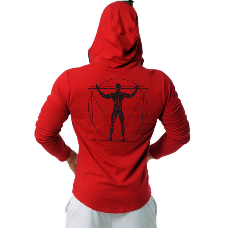 Men's 2019 Winter New Black & Red Back Printed Cotton Hoodies Casual O-Neck Long Sleeve Split Hem Sweatshirt Size M-XXXL