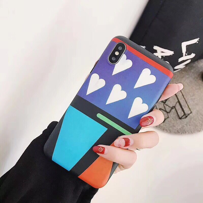 Luxury Love Heart Geometric Pattern Phone Case for iphone 6 6Plus S 7 7 plus 8 8Plus X phone cases coque