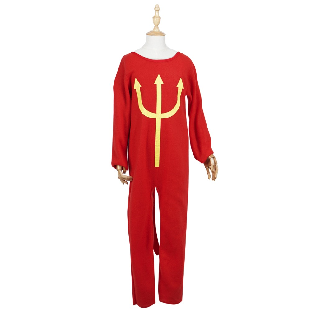 Halloween Costume Boy Devil Costumes Pitch Fork Trident Sleepwear Cosplay Pajama for Kids Party Carnival Festival with tail