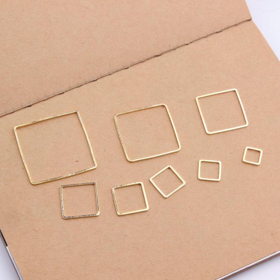10pcs Gold/White K Square Pendant for DIY Earrings Making Earring Connector Findings Jewelry Accessories 8Sizes Wholesale