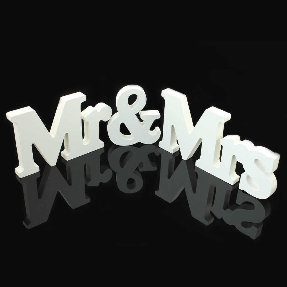 1 компл. одноцветное Mr & Mrs деревянные буквы для Свадебные Украшения знак столешницы настоящее украшение 3 вида стилей для поставок свадьбы
