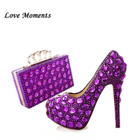 Новое поступление, фиолетовые туфли со стразами, женские свадебные туфли и сумки в комплекте, туфли на платформе и высоком каблуке, женские