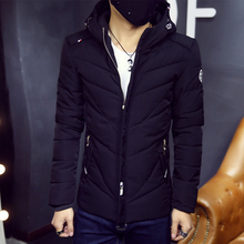 2016 men's winter coat Korean version of the young men Slim thick padded hooded jacket winter fashion male A013