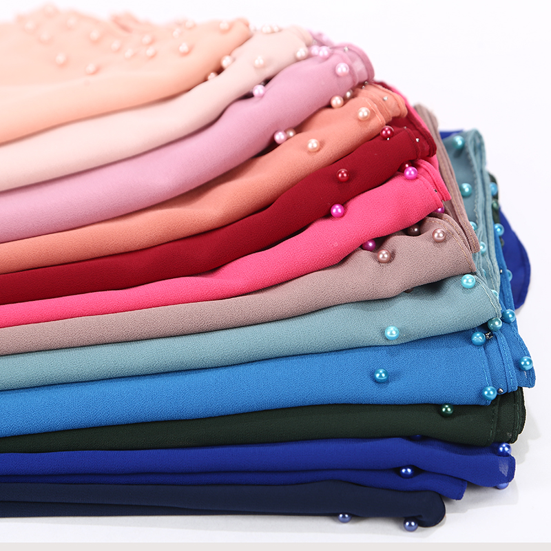 1pc Nice Coloured Pearl Scarf Big Solider Color Quality Bubble Chiffon Scarf Plain Shawls Hijab Muslim Scarf 20 Color 180*75cm