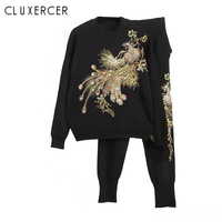 Spring 2 Piece Set Women Embroidery Sequined Sweatshirt+Pants Suit Tracksuits Long Sleeve Knitted Sportswear Outfit