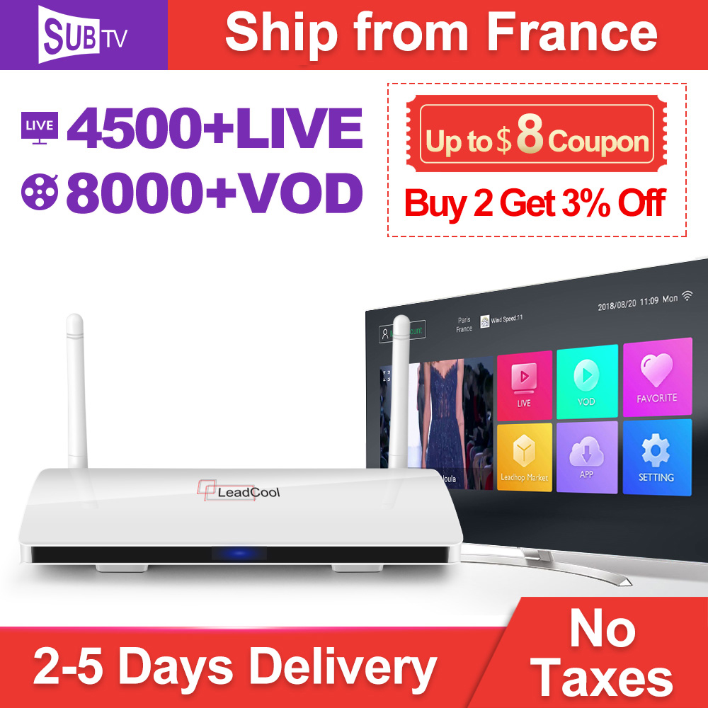 Full HD IPTV France Android Box TV récepteur Rk3229 Quad-Core WIFI Leadcool TV Box avec IPTV SUBTV France turc arabe IP TV