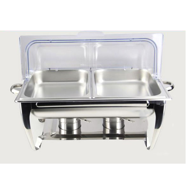 buy stainless steel buffet chafing dish hotpot heater 9l basin fliptop lid clear wedding banquet cooking pan server food tray warmer from
