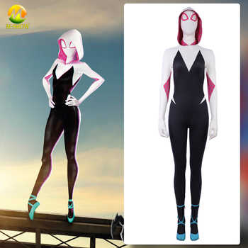 Spider-Man: Into the Spider-Verse Gwen Stacy Cosplay Costume Zentai Spiderman Halloween Spandex Bodysuit Jumpsuits For Women - DISCOUNT ITEM  15% OFF All Category