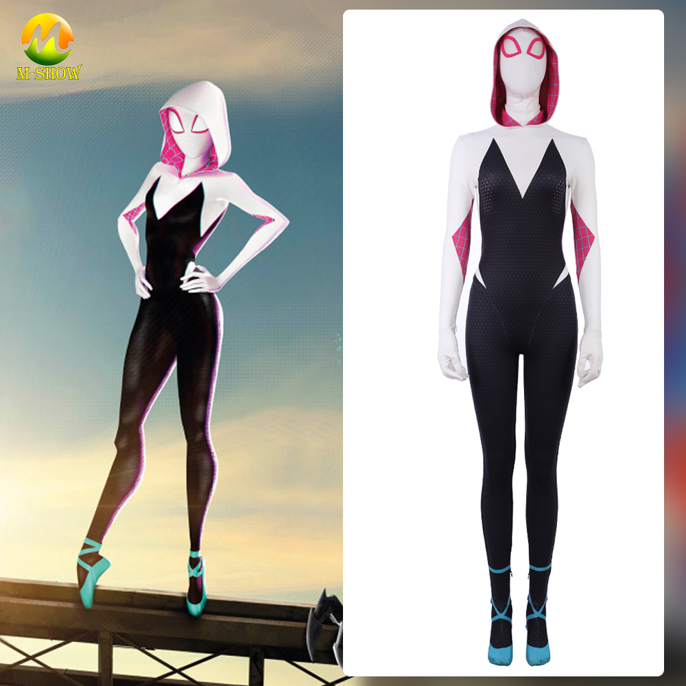 Spider-Man: Into the Spider-Verse Gwen Stacy Cosplay Costume Zentai Spiderman Halloween Spandex Bodysuit Jumpsuits For Women