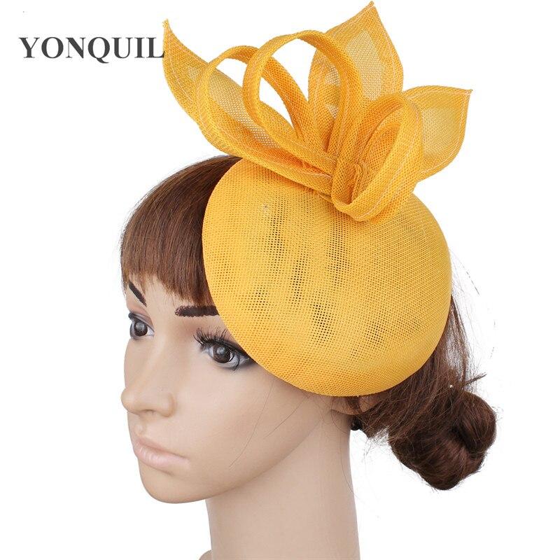 Винтажный головной убор цвета хаки, головной убор Sinamay, головной убор для особых случаев, шляпа Кентукки Дерби, церковная Свадебная вечеринка, гонка, высокое качество - Цвет: Цвет: желтый