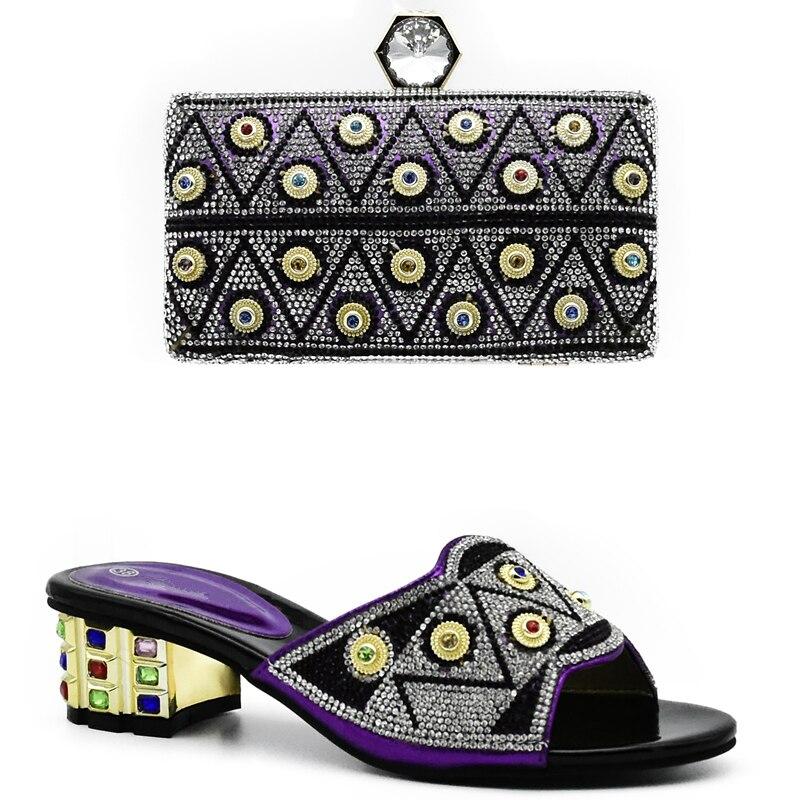Assorti or Sac Chaussure Parti bleu Et 42 pourpre Ensemble Chaussures Sizes38 Femme Strass Sacs Nouveau Pour Femmes Noir Noir Africaines Mode wIOqnEUWH