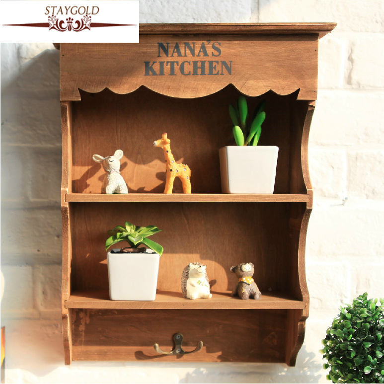 2017 Zakka Grocery Retro Wood Storage Cabinet Vintage Shelf Wall Hanging Bathroom Cabinet Storage Rack Shelving