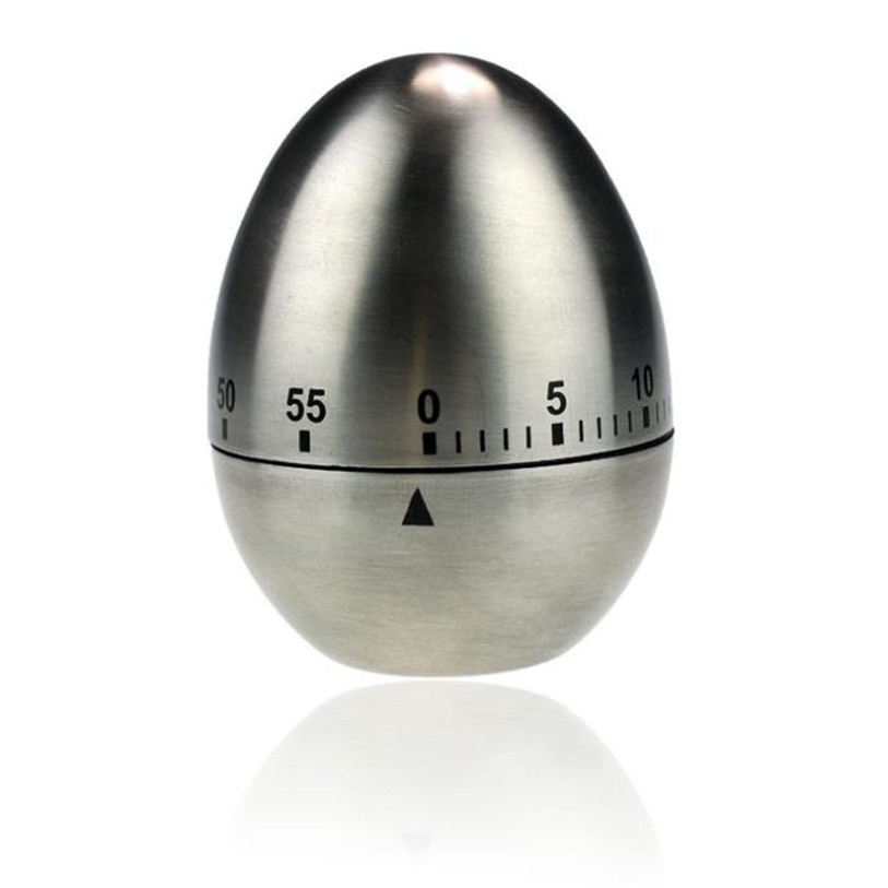 Stainless Steel Egg Shaped Mechanical Kitchen Dial Timer Game Count-down Up Clock Alarm Reminder Cooking Tools Wholesale 30JE15