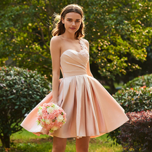 Tanpell one shoulder bridesmaid dress pink sleeveless knee length a line gown homecoming party customed short dresses