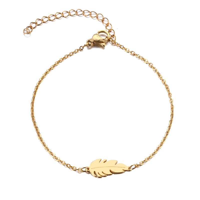 DOTIFI Stainless Steel Bracelet For Women Feather Man Gold And Silver Color Pulseira Feminina Lover's Engagement Jewelry 1