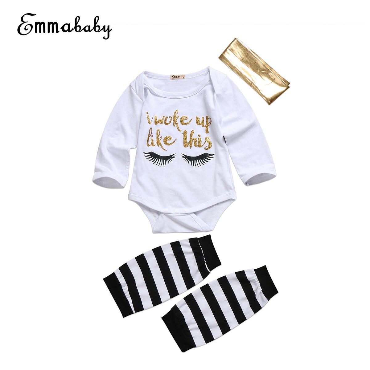 3PCS Lovely Baby Set Newborn Baby Girls Clothes Long Sleeve Bodysuit Jumpsuit Outfits Headband Leg Warmer Cute Kid Clothes Set