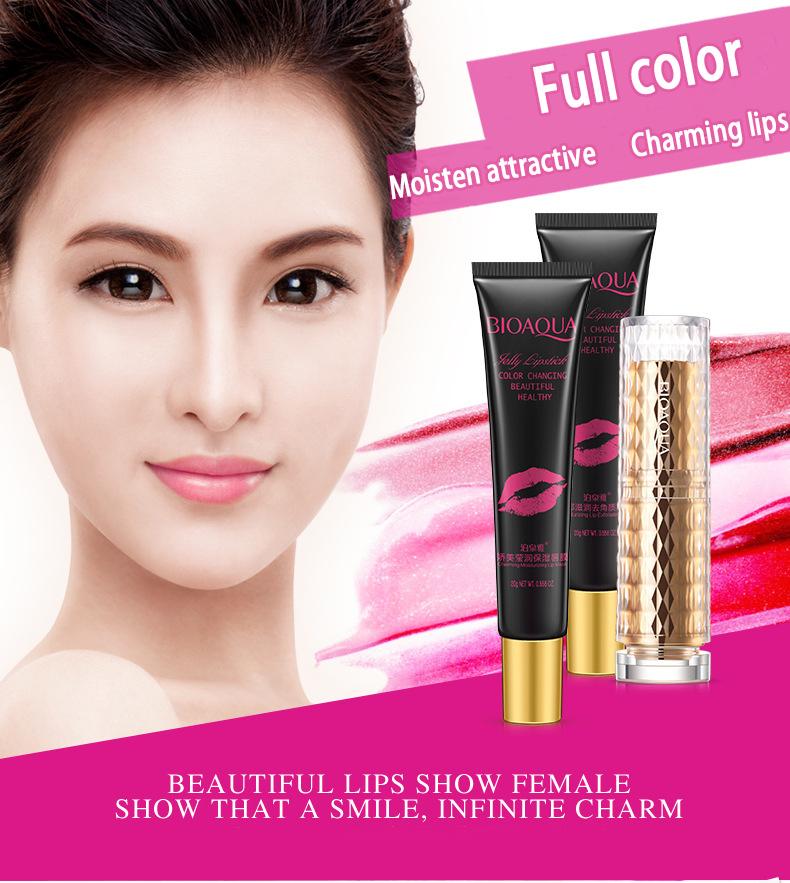 BIOAQUA Exfoliating Gel / Lip Film /Jelly Liquid Lipstick Lip Care Set Beauty Makeup Liquid Lipstick Pink Tender Moisturizing 19