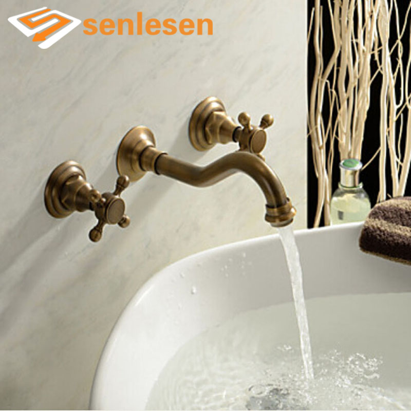 Wholesale And Retail Antique Brass Wall Mounted Bathroom Basin Faucet Dual Cross Handles Vanity Sink Mixer Tap Widespread цена