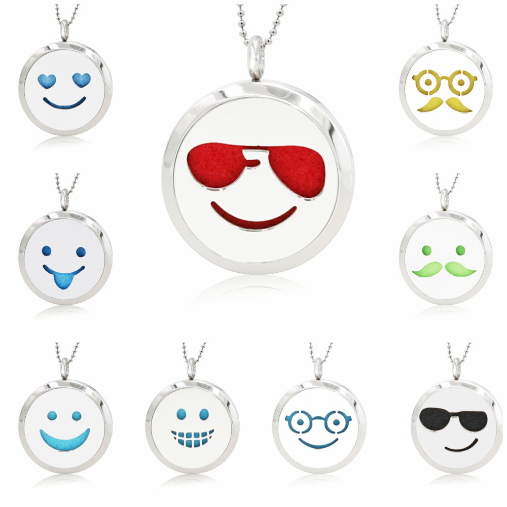 Face Expression 30mm Stainless Steel Essential Oil Aromatherapy Perfume Locket Diffuser Locket Pendant 10pcs Pads (no chain)
