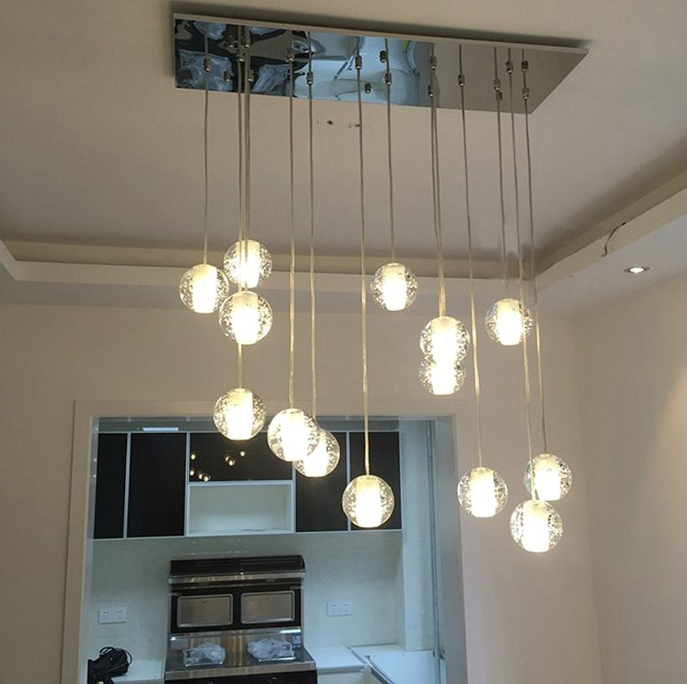 ▻Bola de cristal colgante de luz moderna lámpara colgante luces ...