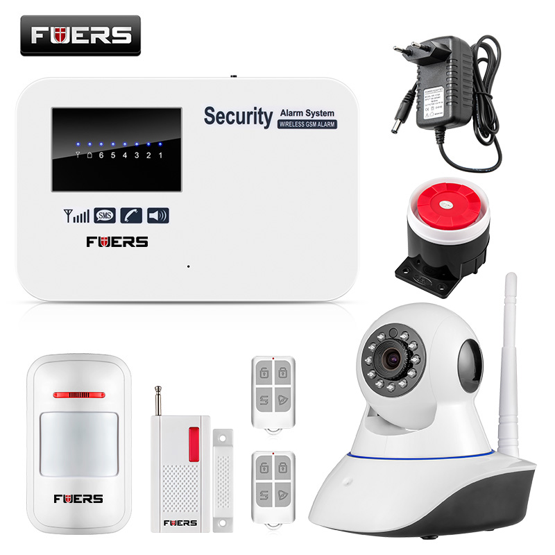 FUERS Wireless Android ios app remote control Intelligent smart Home Burglar Security GSM Alarm System with WIFI IP camera