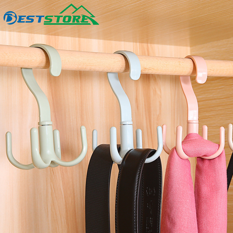 Rotating Hook Clothes Dryer Bag Silk Scarves Around Four Claw Multi-functional Plastic Belt Hook Receives The Rack