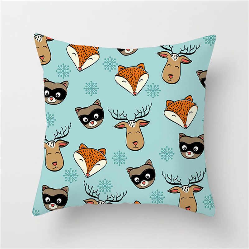 Fuwatacchi漫画の動物クッションカバー鹿ベア北極キツネヤギ枕カバー装飾ソファチェア子供ルーム白枕