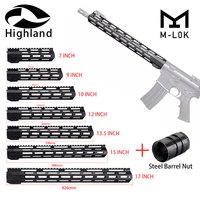 Tactical AR15 M16 M LOK Handguard Rail 7 9 10 12 13.5 15 17 M LOK Free Float Picatinny Rail Bracket with Steel Barrel Nut