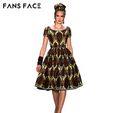 FANS FACE Vintage African Fabric Dresses For Women Embroidery African Print Maxi Summer Dress Dashiki Dress Robe Africaine Femme(China)